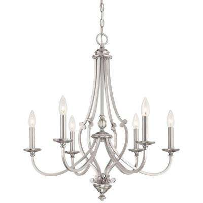 Savannah Row 6-Light Brushed Nickel Chandelier