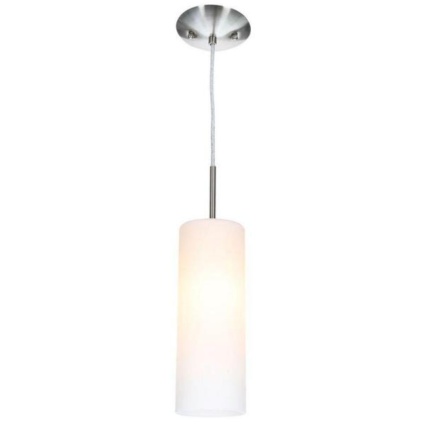 Troy 3 Collection 4.75 in. W 1-Light Matte Nickel Mini Pendant with Frosted Glass Shade