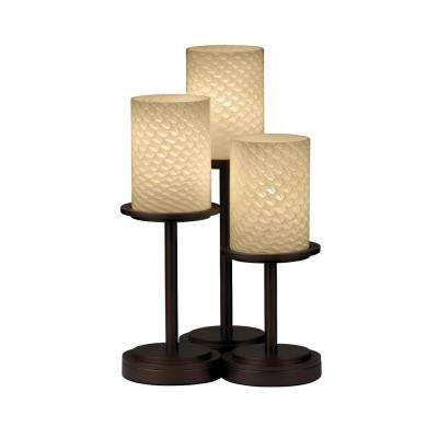 Fusion Dakota 3-Light 16 in. Dark Bronze Table Lamp with Weave Shade