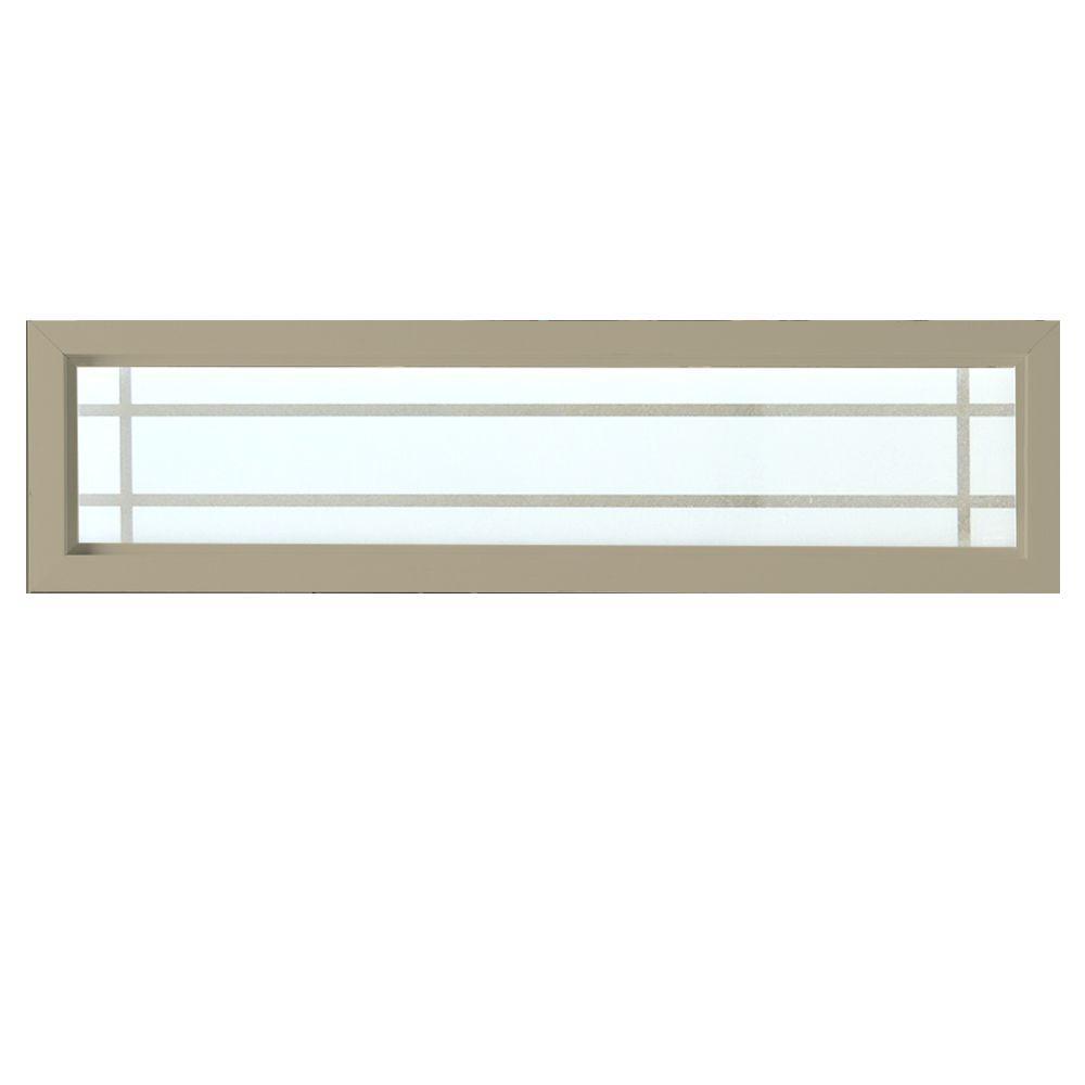 47.5 in. x 11.5 in. Prairie Decorative Glass Picture Vinyl Window - Tan