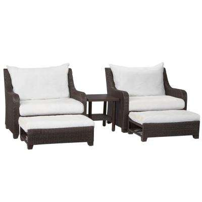 Sauntera Custom 5-Piece Wicker Patio Conversation Set with Cushions Included, Choose Your Own Color