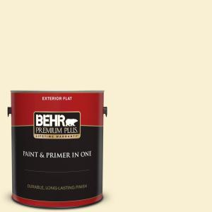 Behr Premium Plus 1 Gal Yl W03 Honied White Flat Exterior Paint And Primer In One 405001 The Home Depot