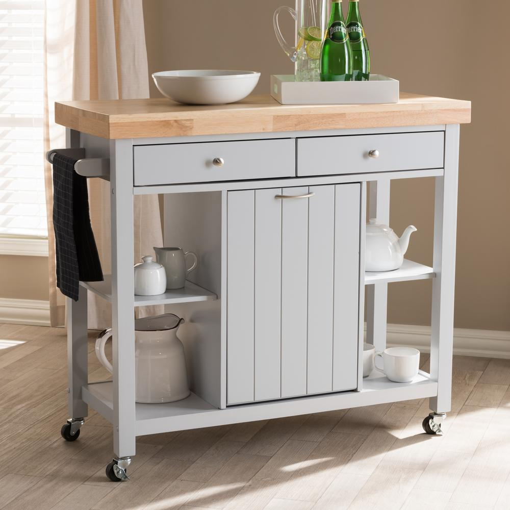 Baxton Studio Hayward Gray Kitchen Cart With Pull Out Garbage Bin