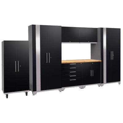 Performance Plus 2.0 80 in. H x 156 in. W x 24 in. D Steel Garage Cabinet Set in Black (8-Piece) with Bamboo Worktop