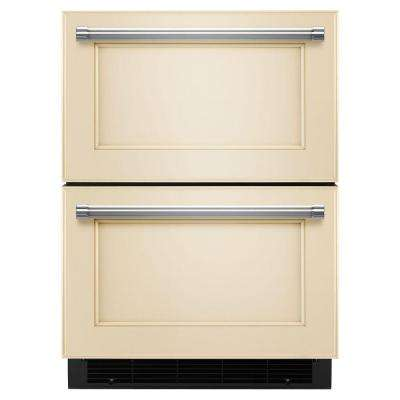 24 in. W 4.7 cu. ft. Double Drawer Freezerless Refrigerator in Overlay Panel-Ready, Counter Depth