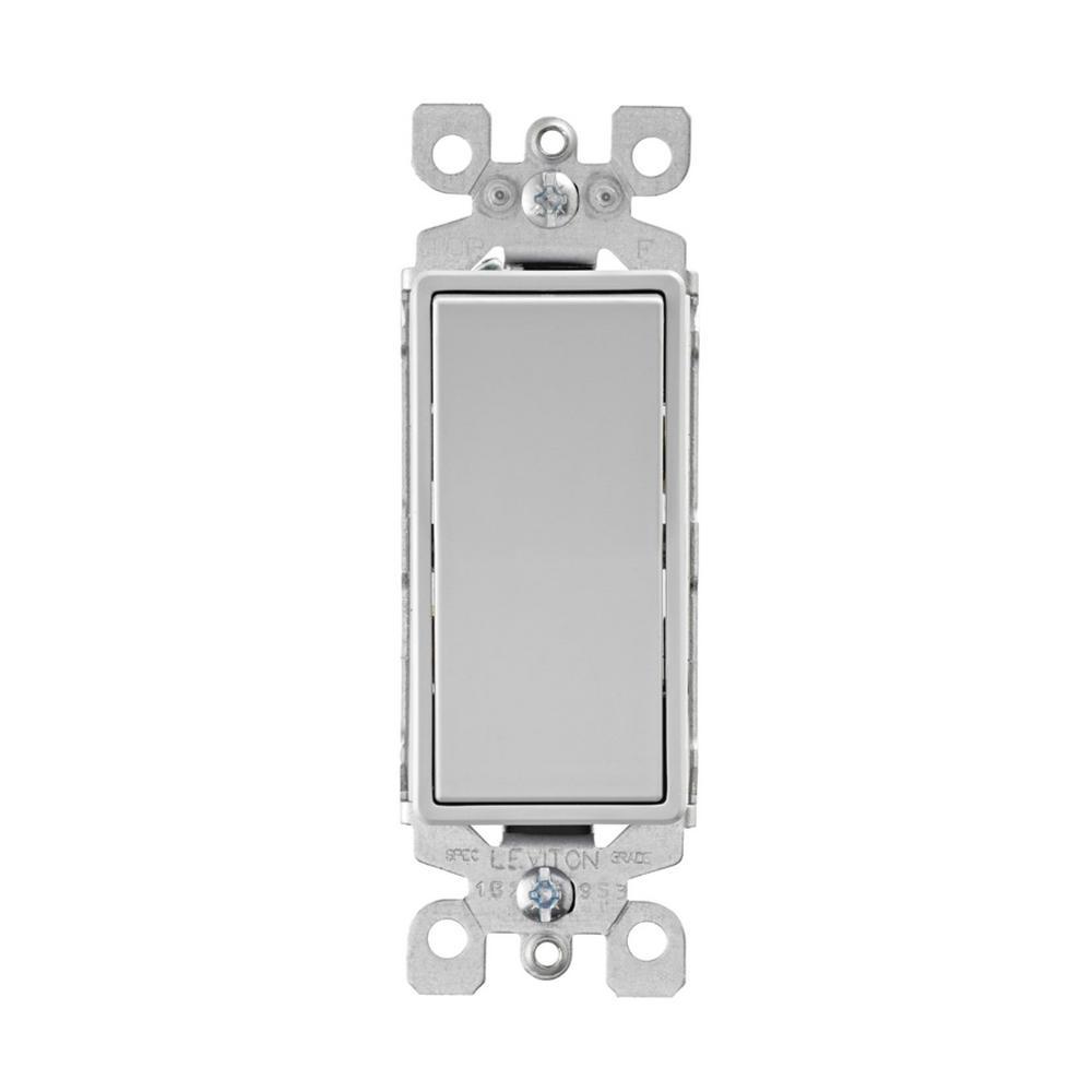 Decora 15 Amp 3-Way Rocker Switch, Light Gray