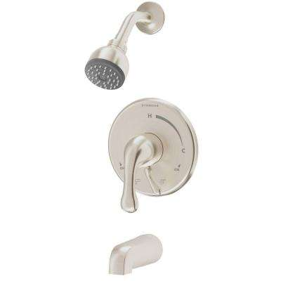 Unity Single-Handle 1-Spray Tub and Shower Faucet with Stops in Satin Nickel (Valve Included)
