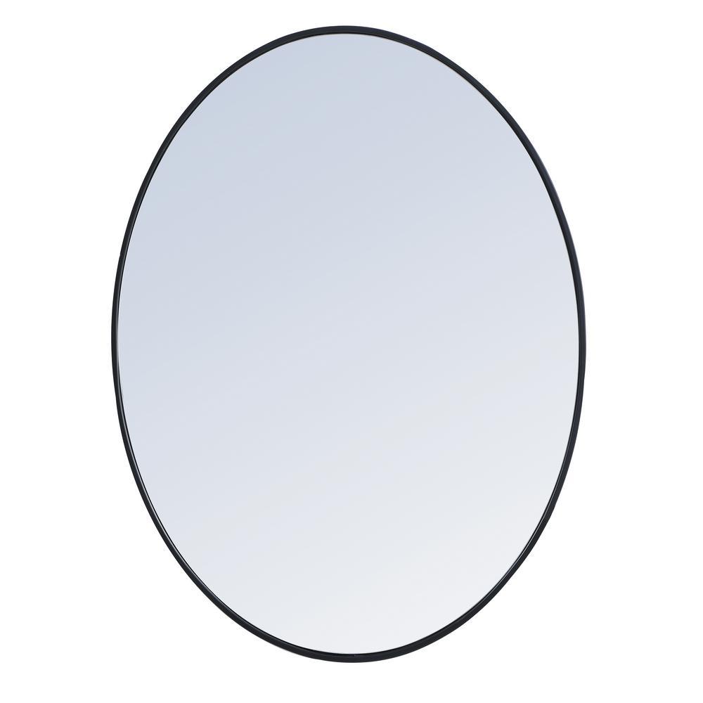 Medium Oval Black Modern Mirror (30 in. H x 40 in. W)