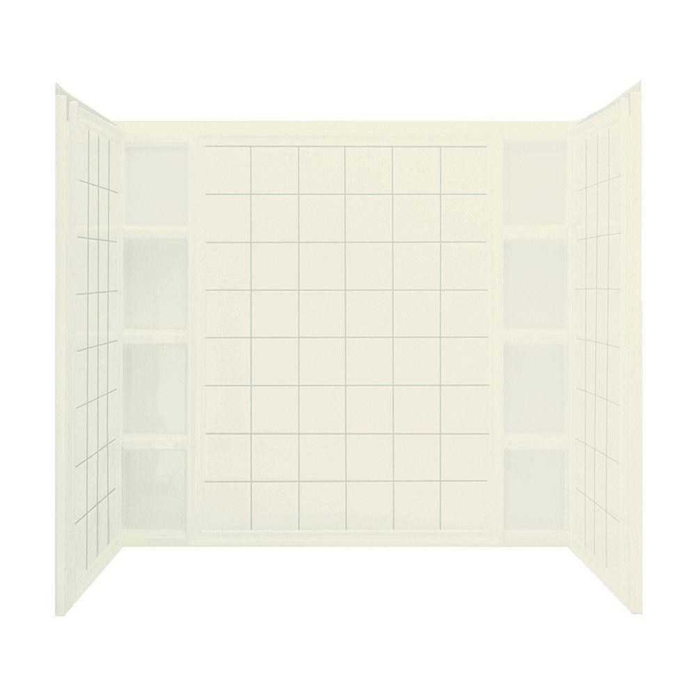 STERLING Ensemble Tile 60 in. x 37-1/2 in. x 54-1/4 in. 3-piece Direct-to-Stud Shower Wall Set in Biscuit