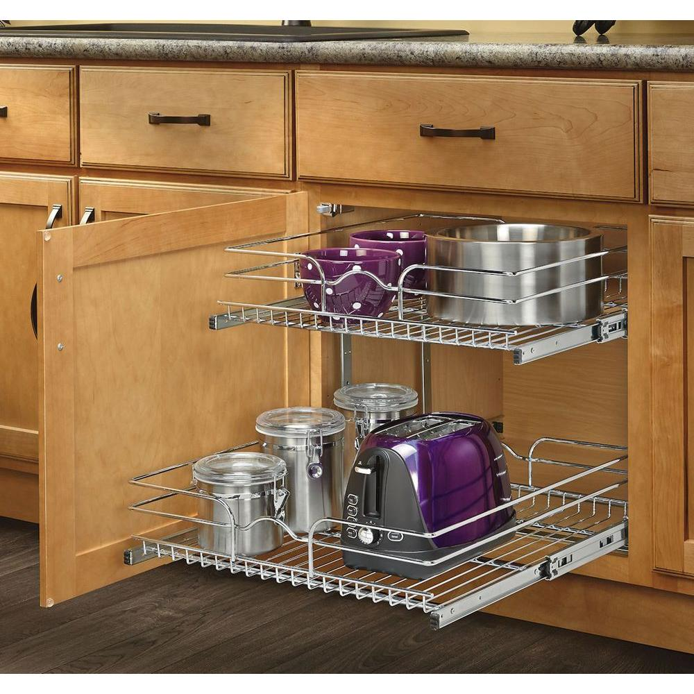 2 Tier Wire Basket Cabinet Pull Out Chrome Shelves Shelf Sliding