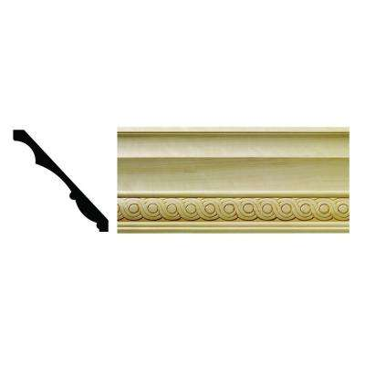 1600 1/2 in. x 5-1/4 in. x 6 in. Hardwood White Unfinished Rondele Crown Moulding Sample