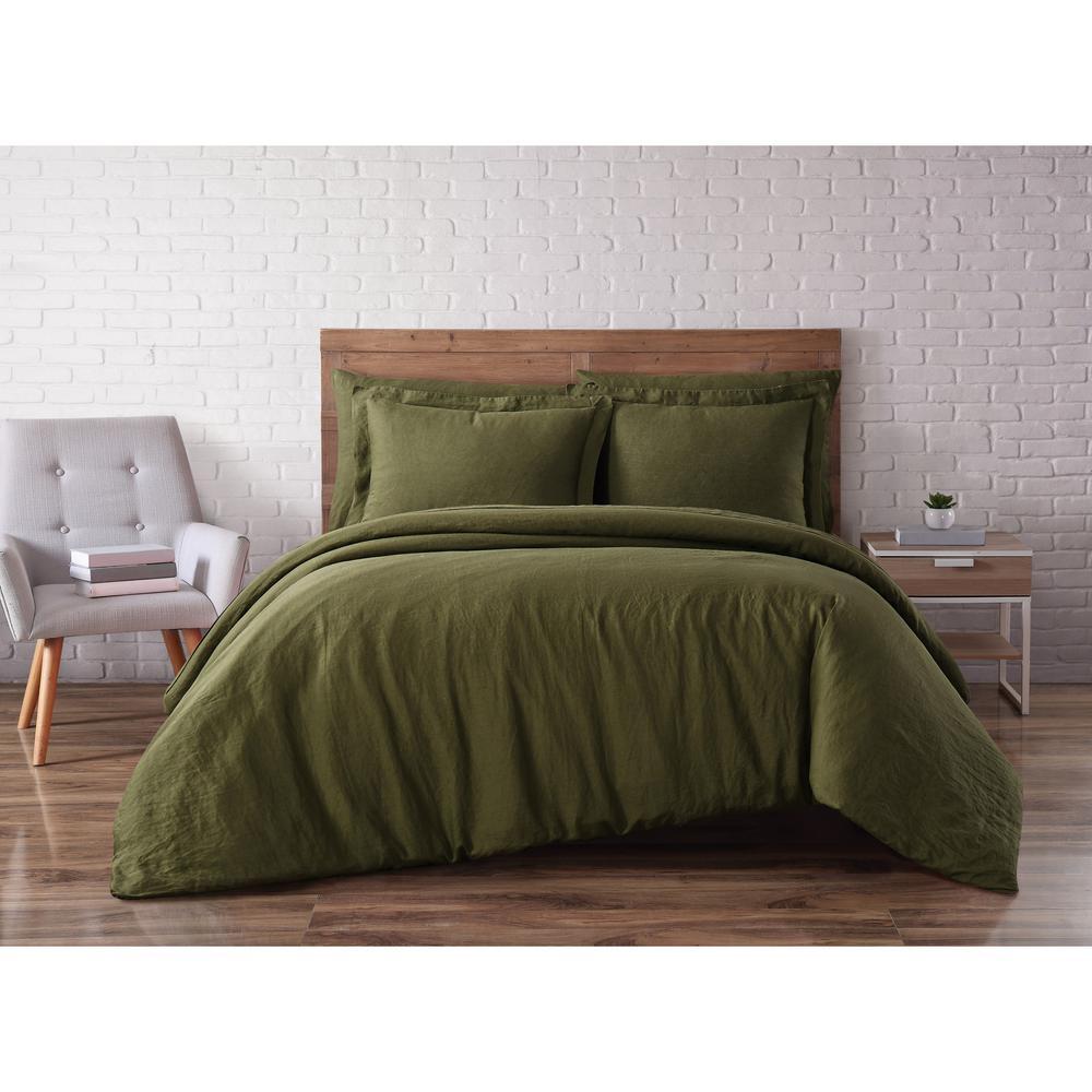 Linen Olive Green Full/Queen 3-Piece Duvet Set