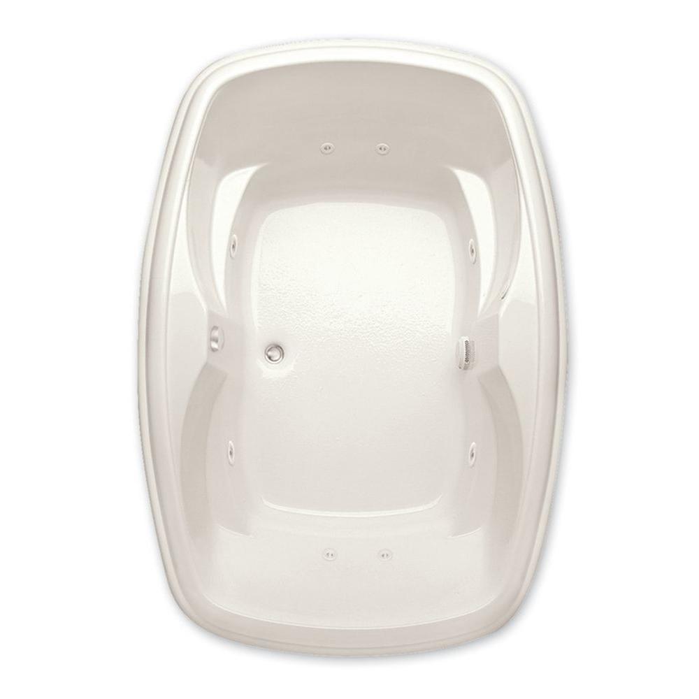 Aquatic Azra I 5 ft. Center Drain Acrylic Whirlpool Bath Tub Pump Location 2 in Biscuit