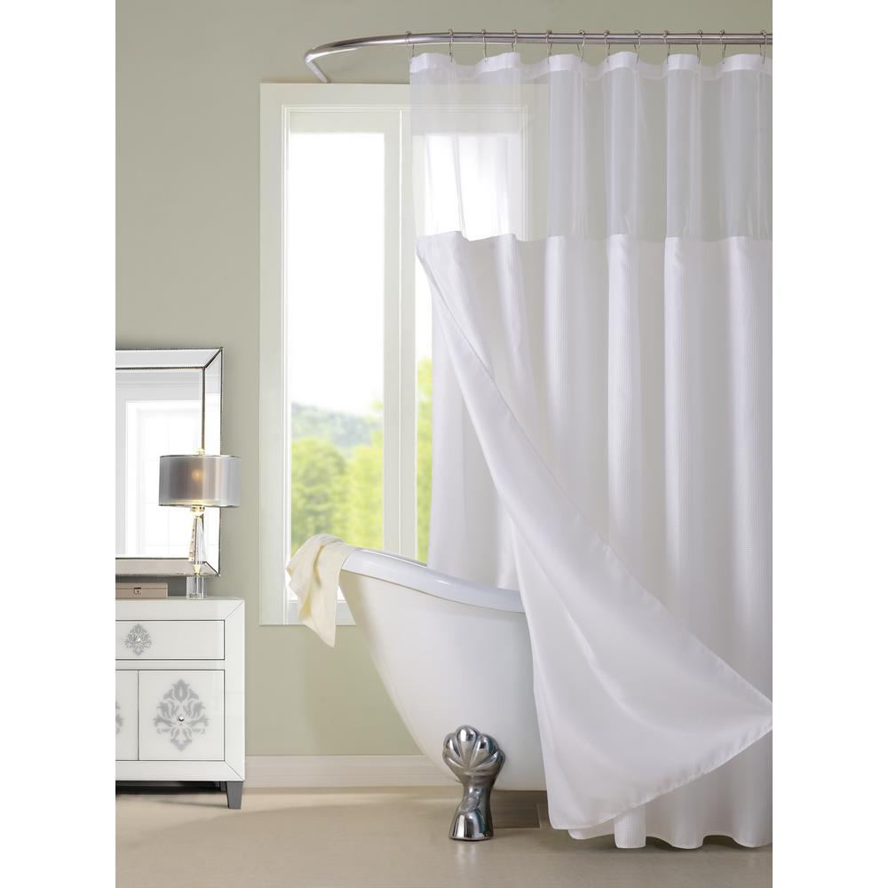 Dainty Home Complete 72 In White Shower Curtain CSCDLWH