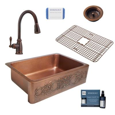 Ganku All-in-One Farmhouse/Apron-Front Copper 33 in. Single Bowl Kitchen Sink with Pfister Faucet and Drain in Copper