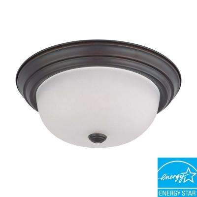 2-Light Ceiling Mahogany Bronze Fluorescent Flush Mount