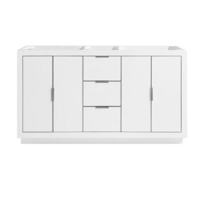 Austen 60 in. Bath Vanity Cabinet Only in White with Silver Trim
