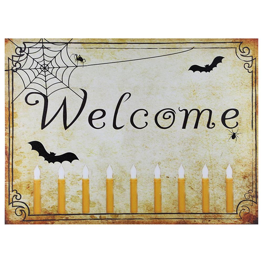 Design House 24 in. W x 18 in. H Welcome Halloween LED Lit Canvas Wall Decoration