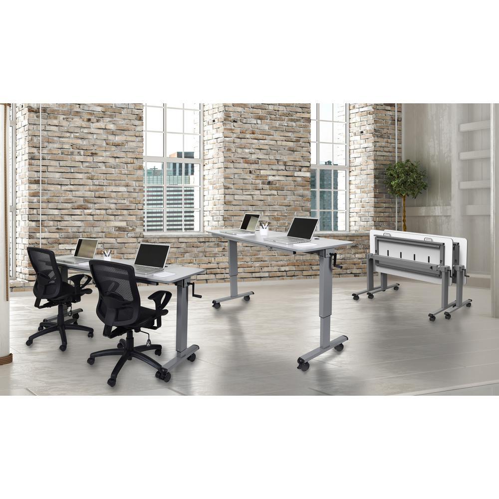 71 in. Rectangular Gray Standing Desks with Adjustable Height