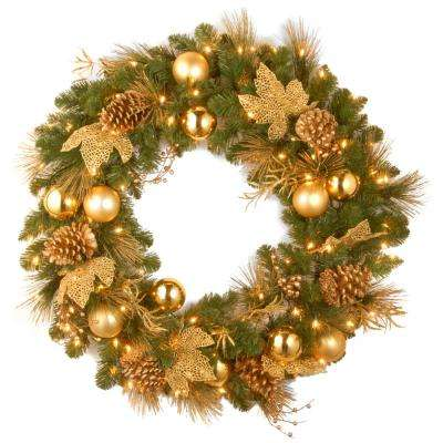 Decorative Collection Elegance 36 in. Artificial Wreath with Clear Lights