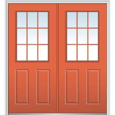 64 in. x 80 in. Clear 1/2 Lite 2-Panel 9-Lite Right-Hand Classic Painted Fiberglass Smooth Prehung Front Door