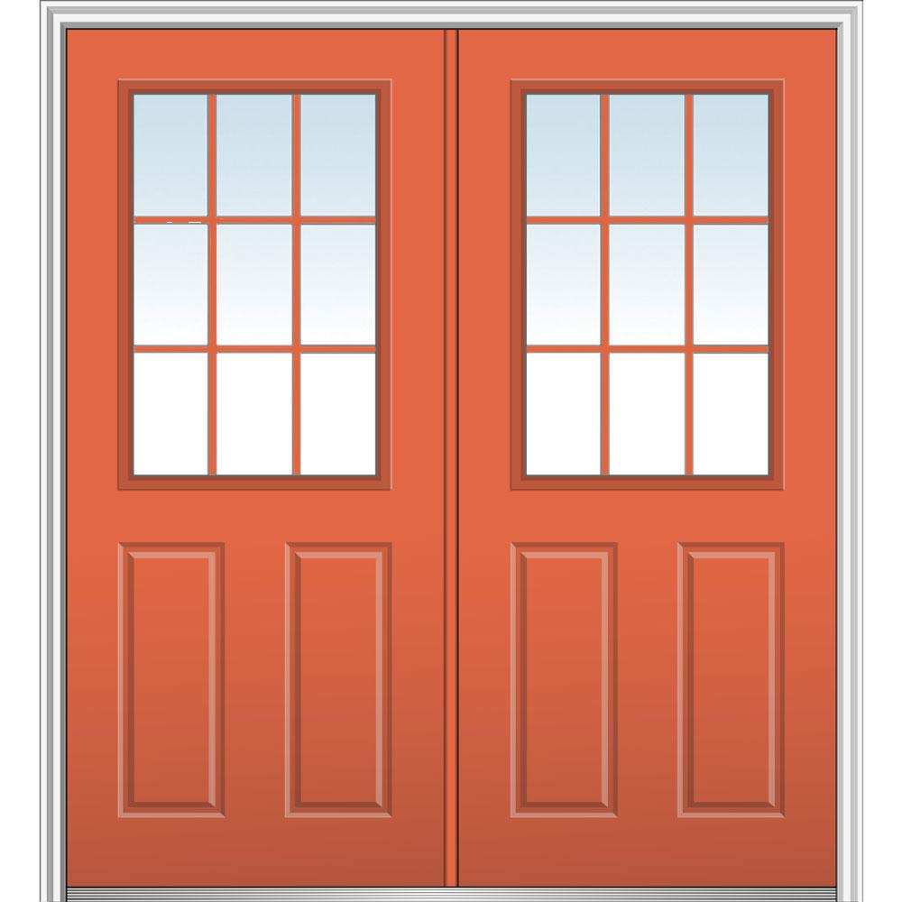 Mmi Door 72 In X 80 In Clear 1 2 Lite 2 Panel 9 Lite Right Hand Classic Painted Steel Prehung