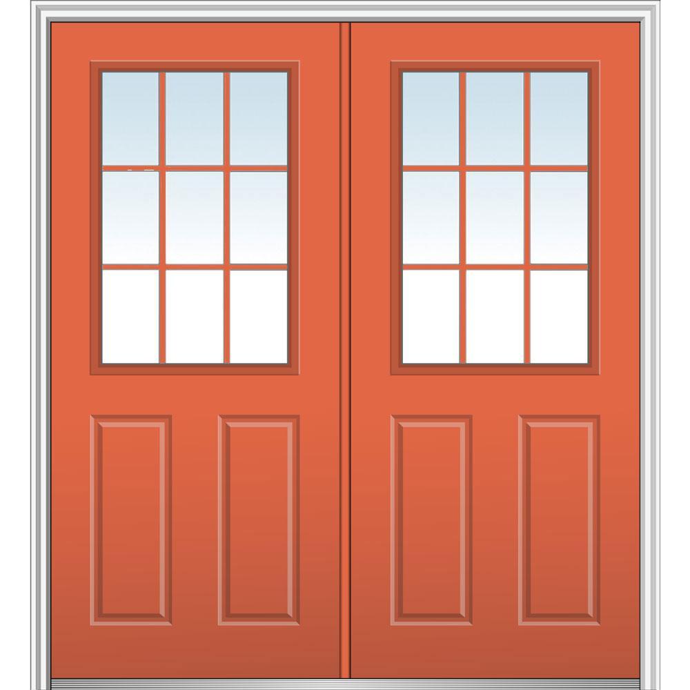 64 in. x 80 in. Clear 1/2 Lite 2-Panel 9-Lite Left-Hand Classic Painted Steel Prehung Front Door