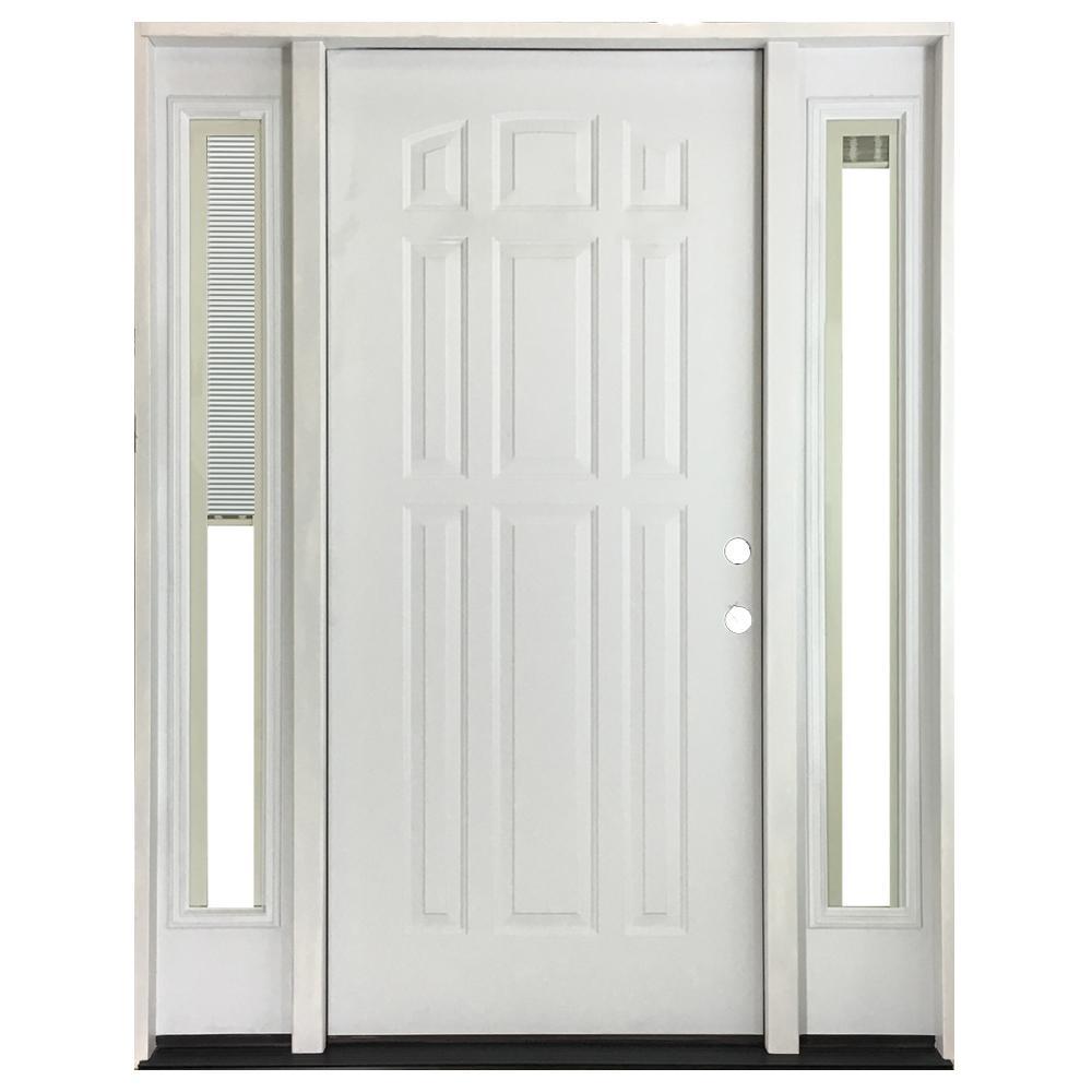 60 in. x 80 in. 9-Panel Primed White Left-Hand Steel Prehung Front Door with 10 in. Mini Blind Sidelites 6 in. Wall