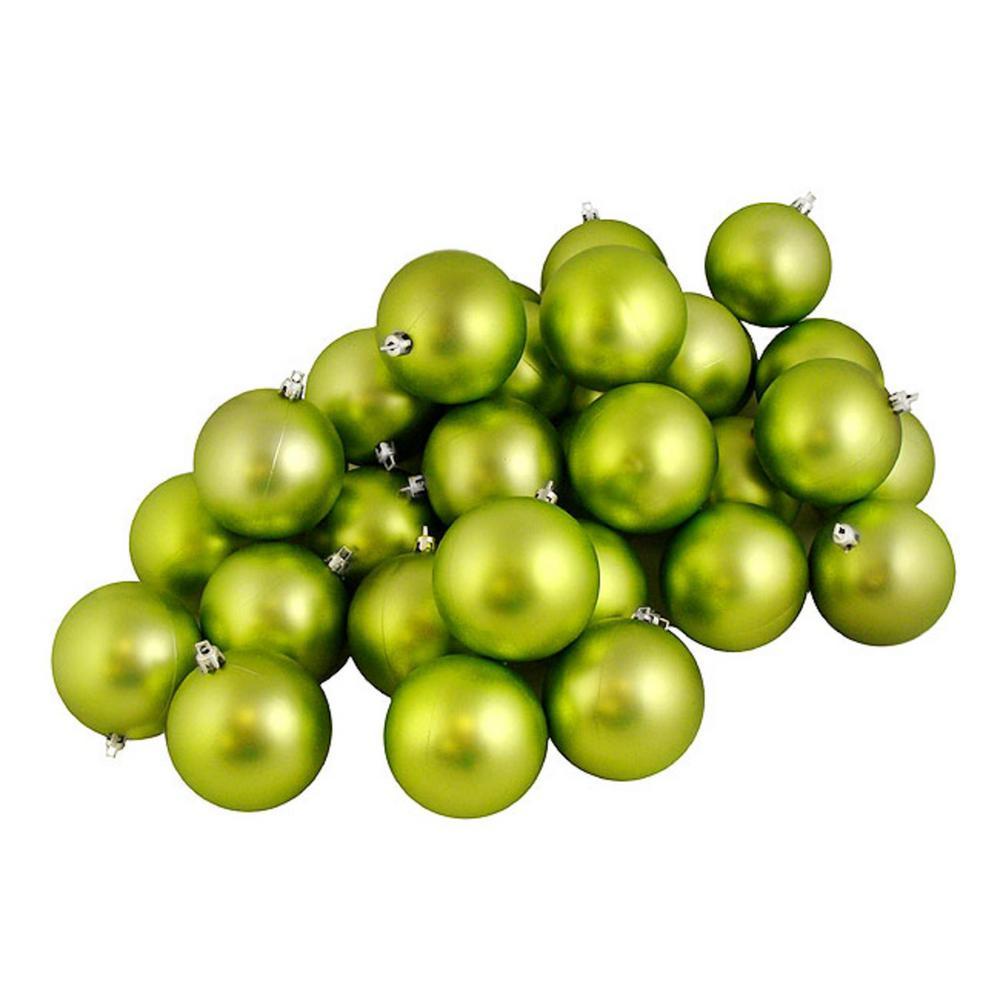 Shatterproof Matte Green Kiwi Christmas Ball Ornaments (12-Count)