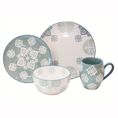 Painterly 16-Piece Beige Dinnerware Set