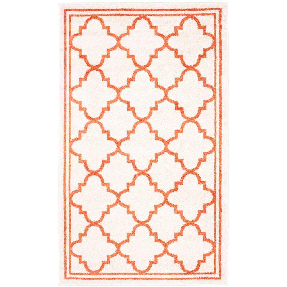Amherst Beige/Orange 3 ft. x 4 ft. Indoor/Outdoor Area Rug