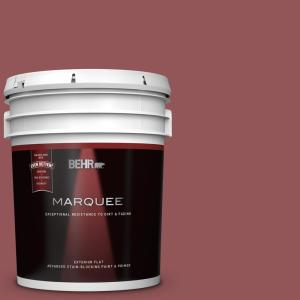 Behr Marquee 5 Gal 150f 6 Gallery Red Flat Exterior Paint And Primer In One 445305 The Home Depot