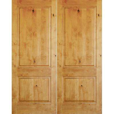 60 in. x 80 in. Rustic Knotty Alder 2-Panel Square Top Unfinished Right-Hand Inswing Wood Double Prehung Front Door