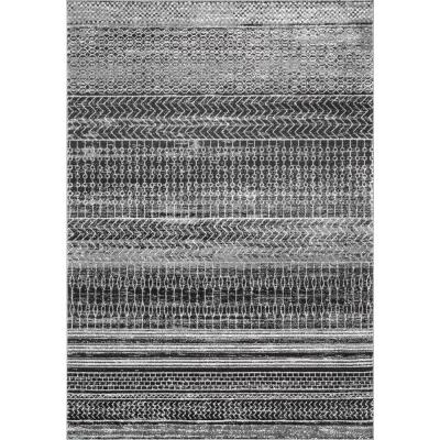 Nova Stripes Dark Gray 12 ft. x 15 ft. Area Rug