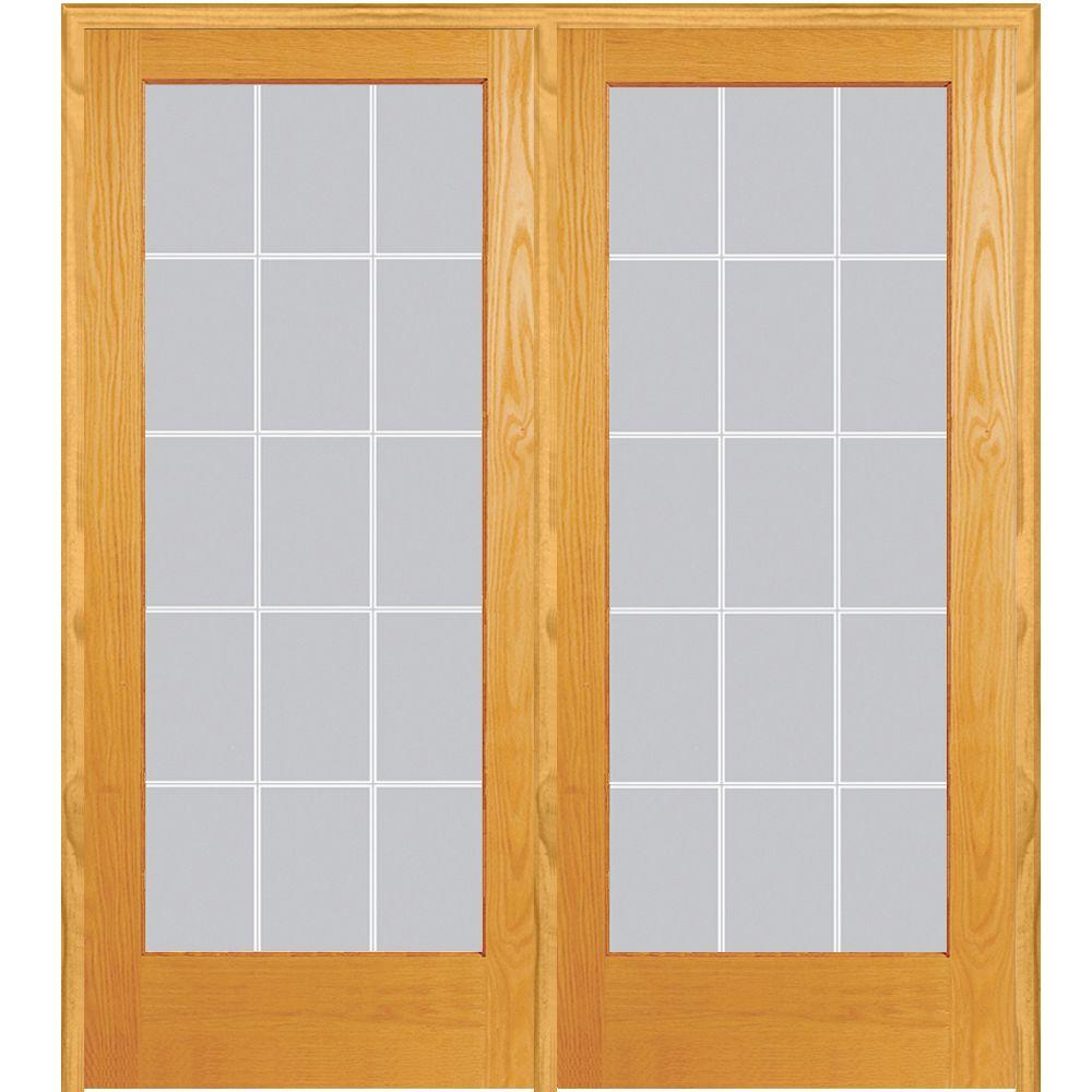 MMI Door 72 in. x 80 in. Right Hand Active Unfinished Pine Glass 15-Lite Clear V-Groove Prehung Interior French Door