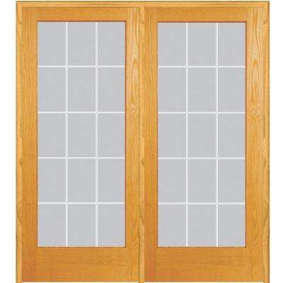 60 in. x 80 in. Left Hand Active Unfinished Pine Glass 15-Lite Clear V-Groove Prehung Interior French Door