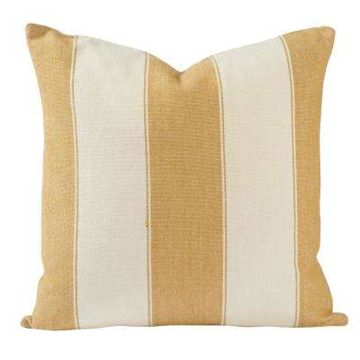 Classic Gold and White Stripes Throw Pillow