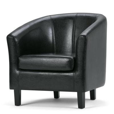 Austin 30 in. Wide Transitional Tub Chair in Black Faux Leather