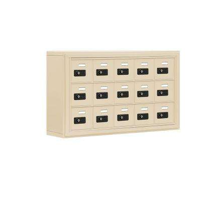 19000 Series 37 in. x 20 in. x 6.25 in. Aluminum 15 A Doors S-Mount Resettable Locks Cell Phone Locker in Sandstone