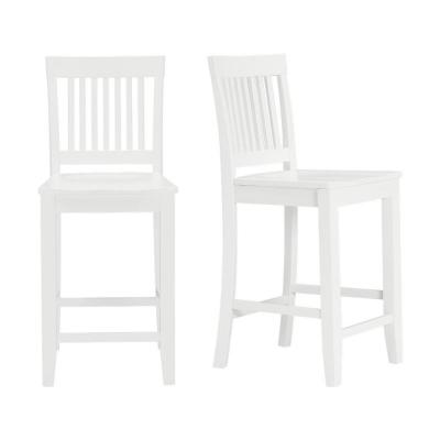 Scottsbury White Wood Counter Stool with Slat Back (Set of 2) (19.14 in. W x 38.59 in. H)