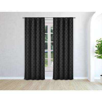 Bryn Black Pole Top Panel Pair - 37 in. W x 96 in. L in (2-Piece)