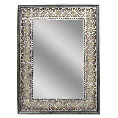 23.5 in. W x 31.5 in. H Stain Glass Fretwork Wall Mirror in Pewter