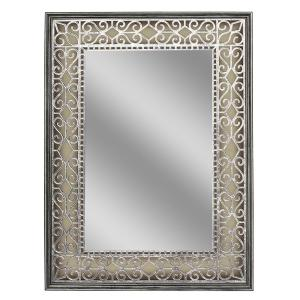Deco Mirror 23.5 inch W x 31.5 inch H Stain Glass Fretwork Wall Mirror in Pewter by Deco Mirror