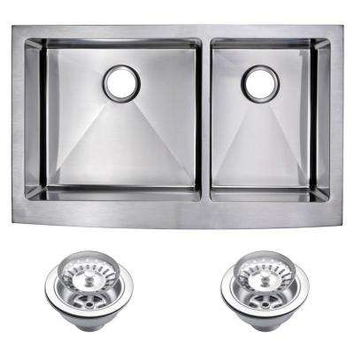 Farmhouse Apron Front Stainless Steel 36 in. Double Bowl Kitchen Sink with Strainer in Satin