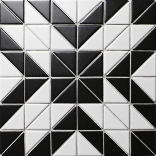 Tre Rue White with Black 10-3/4 in. x 10-3/4 in. x 6mm Porcelain Mosaic Tile