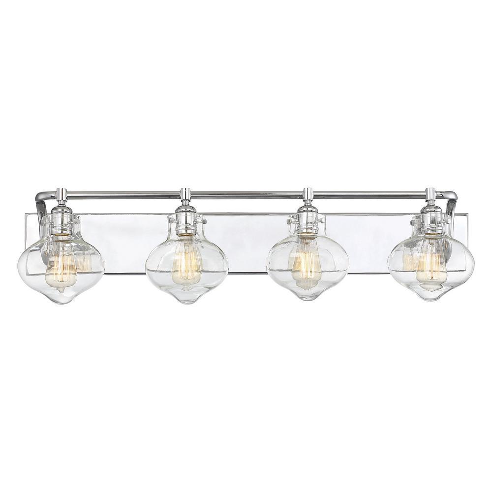 3-Light Polished Chrome Bath Light with Clear Glass