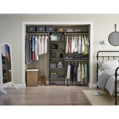 Style+ 84 in. W - 120 in. W Coastal Teak Wood Closet System
