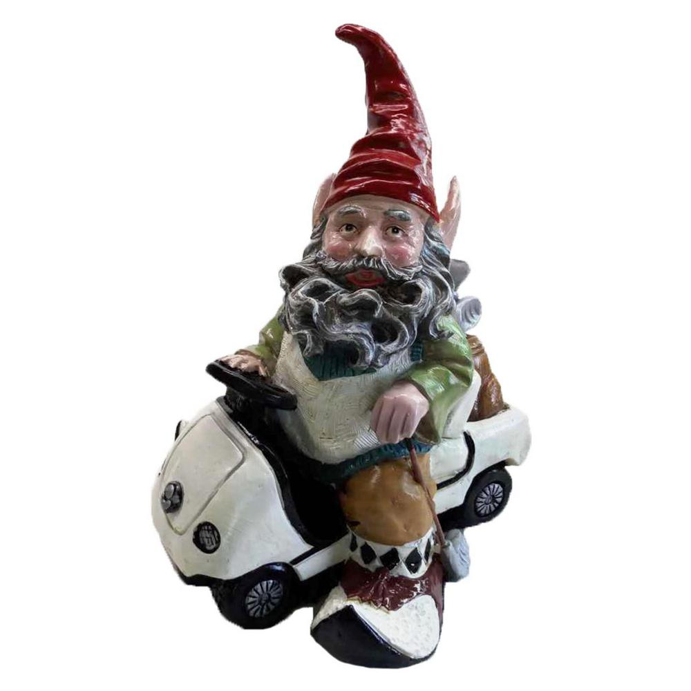 Golfer Gnome Riding In His Golf Cart Collectible Statue