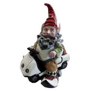 Toad Hollow 12 inch Golfer Gnome Riding in His Golf Cart Collectible Statue by Toad Hollow