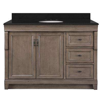 Naples 49 in. W x 22 in. D Bath Vanity in Distressed Grey with Right Drawers with Granite Vanity Top in Black